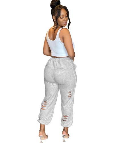 Light gray Urban casual women's sweatshirt burnt pocket sports harem pants