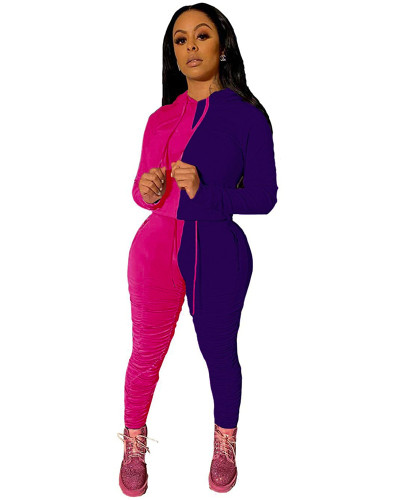 Purple Fashion hooded sports suit two-piece suit