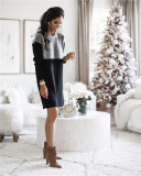 Black Sweater net red new stitching skirt loose large size round neck long sleeve women's dress
