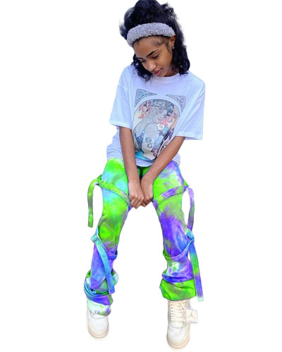 Violet Fashion casual pants all-match tie-dye tie bottoms