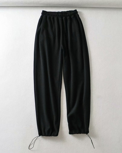 Black Casual straight-leg pants