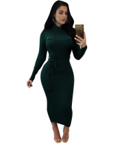 Green Long sleeve hip slim dress