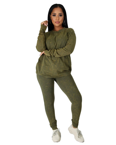 Green Casual fashion sports suit two-piece suit
