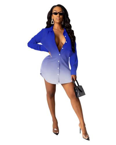 Blue Letter print shirt multicolor women's skirt