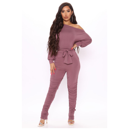 Pink Casual fashion women's pleated hem jumpsuit