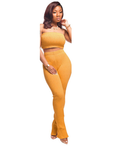Yellow Sexy fashion wrapped chest suit two-piece