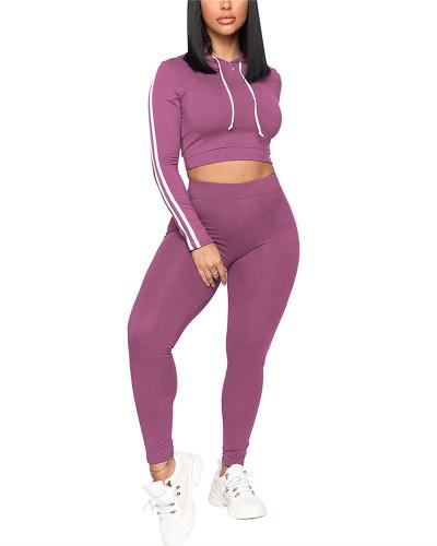 Purple Casual fashion sports suit two-piece suit