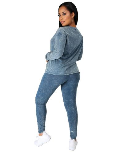 Blue Casual fashion sports suit two-piece suit