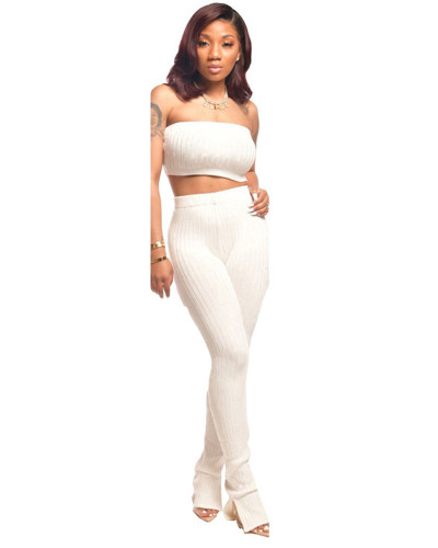 White Sexy fashion wrapped chest suit two-piece