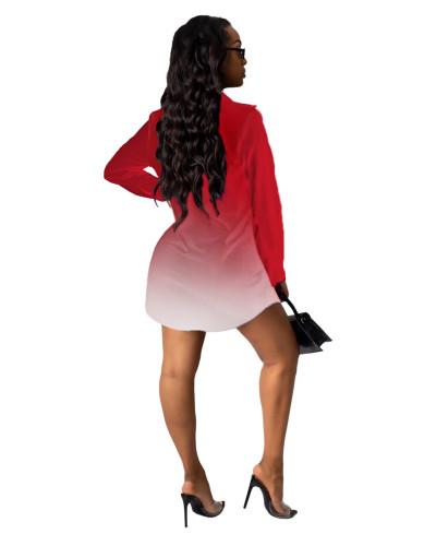 Red Letter print shirt multicolor women's skirt