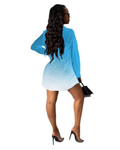 Sky Blue Letter print shirt multicolor women's skirt