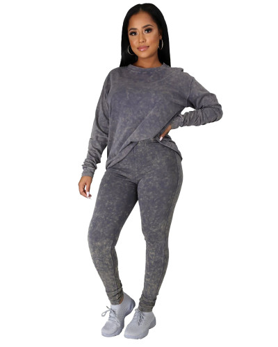 Gray Casual fashion sports suit two-piece suit