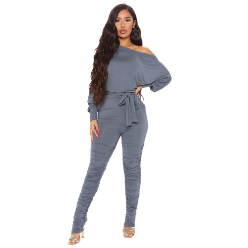 Gray Casual fashion women's pleated hem jumpsuit
