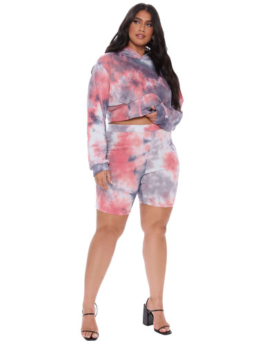 Red Two-piece plus size hooded sports suit