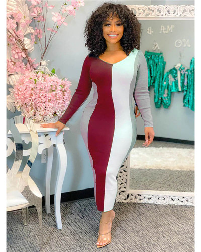 Claret Fashion casual positioning printing U-neck nightclub style slim long-sleeved arm-wrapped dress