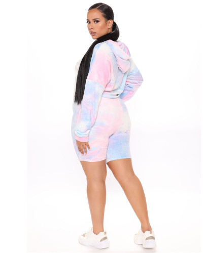 Pink Two-piece plus size hooded sports suit