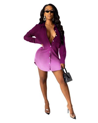 Purple Letter print shirt multicolor women's skirt