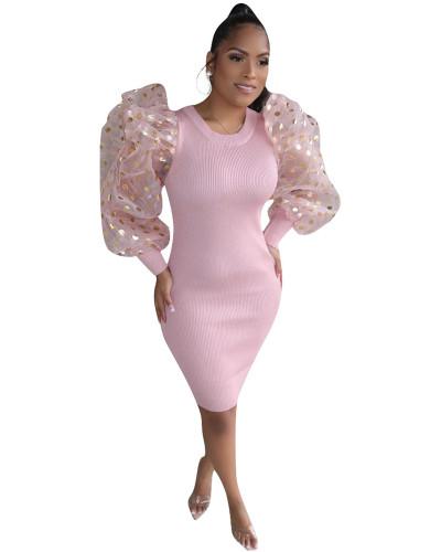 Pink Sexy Fashion Lantern Sleeve Slim Ladies Dress
