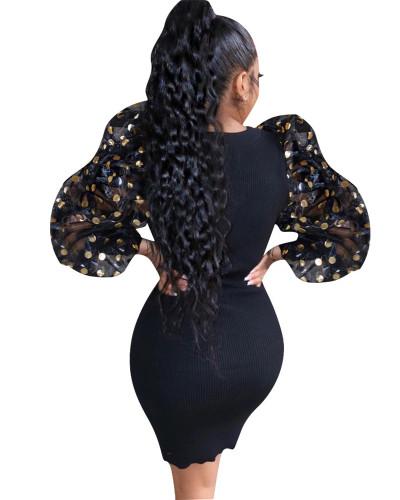 Black Sexy Fashion Lantern Sleeve Slim Ladies Dress