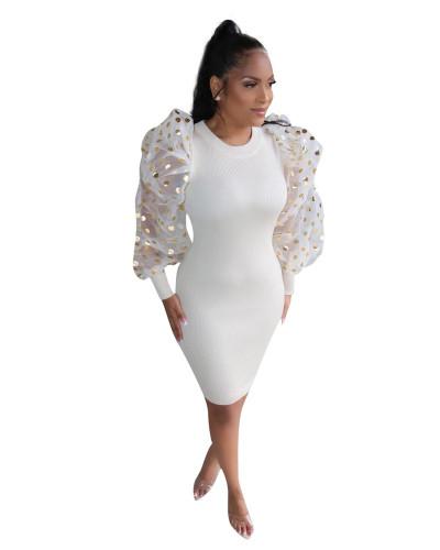 White Sexy Fashion Lantern Sleeve Slim Ladies Dress