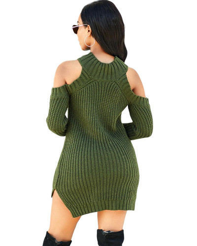 Green Fashion high stretch knitted sweater dress