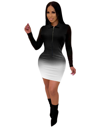 Black Fashionable V-neck mid skirt women's gradient color one-piece dress