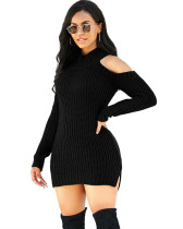 Black Fashion high stretch knitted sweater dress