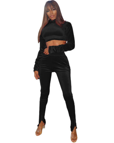 Black Two-piece velvet high-neck cropped sweater with elastic waist trousers