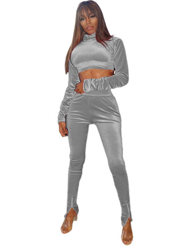 Gray Two-piece velvet high-neck cropped sweater with elastic waist trousers