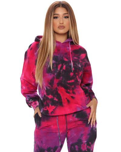 Red Two-piece tie-dye printed sports suit