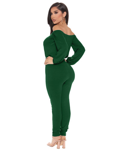 Green Sexy fashion hot-selling one-neck tube top jumpsuit