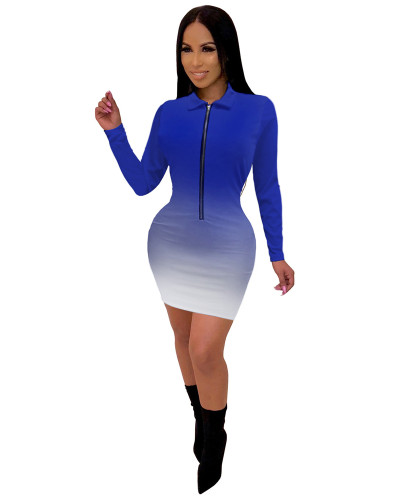 Dark Blue Fashionable V-neck mid skirt women's gradient color one-piece dress