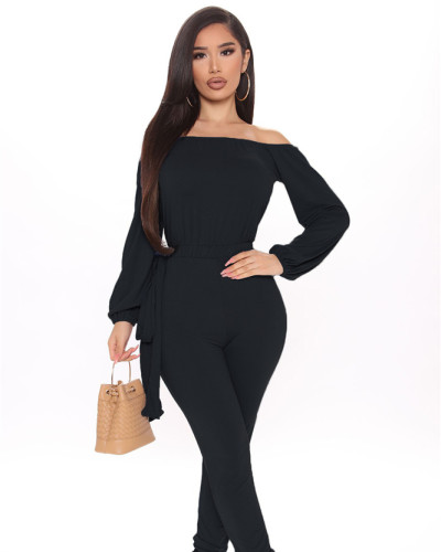 Black Sexy fashion hot-selling one-neck tube top jumpsuit