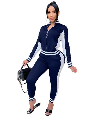 Dark bule Fashion leisure sports suit zipper two-piece suit