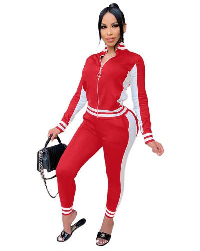 Red Fashion leisure sports suit zipper two-piece suit