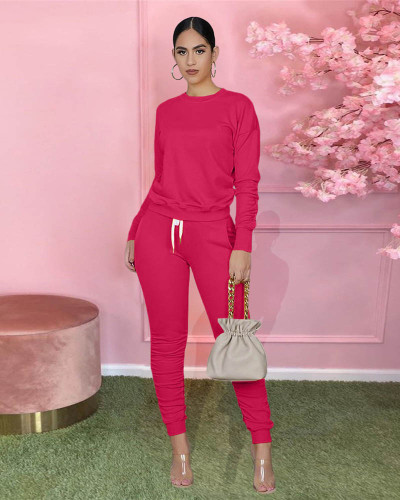 Rose red Pure color long-sleeved T-shirt pleated pants two-piece sports suit
