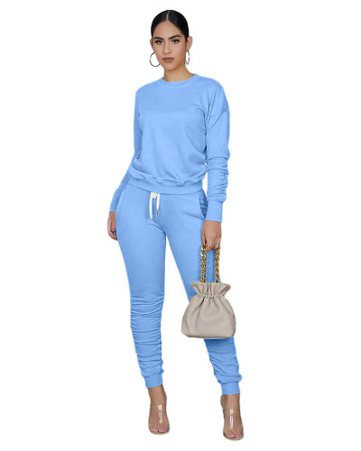Light bule Pure color long-sleeved T-shirt pleated pants two-piece sports suit