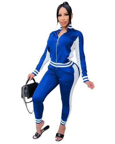 Bule Fashion leisure sports suit zipper two-piece suit