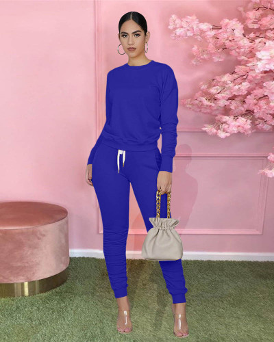 Bule Pure color long-sleeved T-shirt pleated pants two-piece sports suit