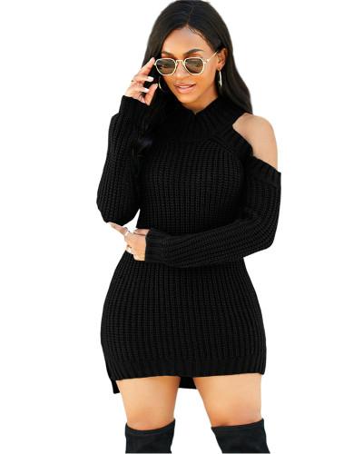 Black Fashion high stretch knitted sweater dress