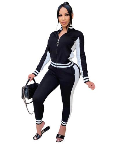 Black Fashion leisure sports suit zipper two-piece suit