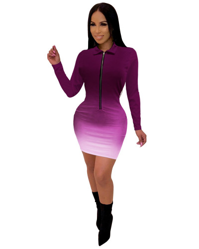 Purple Fashionable V-neck mid skirt women's gradient color one-piece dress