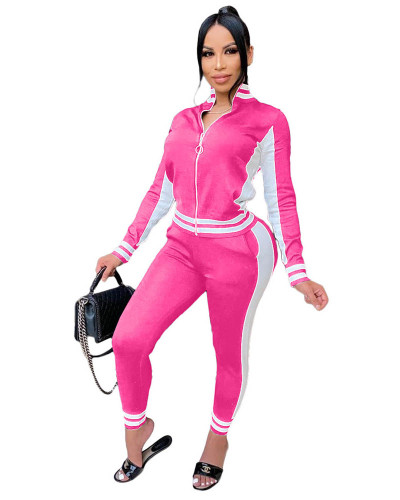 Rose red Fashion leisure sports suit zipper two-piece suit