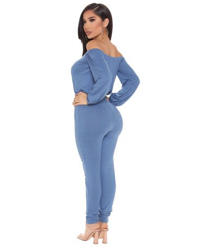 Blue Sexy fashion hot-selling one-neck tube top jumpsuit