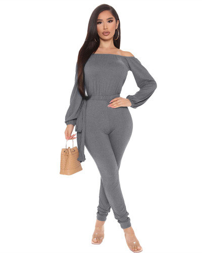 Gray Sexy fashion hot-selling one-neck tube top jumpsuit