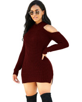 Red Fashion high stretch knitted sweater dress