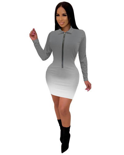 Gray Fashionable V-neck mid skirt women's gradient color one-piece dress