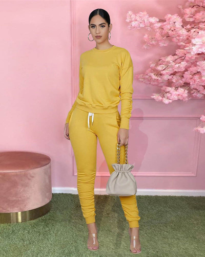 Yellow Pure color long-sleeved T-shirt pleated pants two-piece sports suit