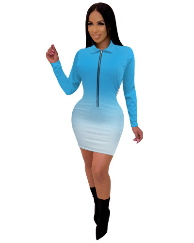 Blue Fashionable V-neck mid skirt women's gradient color one-piece dress
