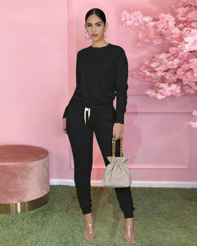Black Pure color long-sleeved T-shirt pleated pants two-piece sports suit